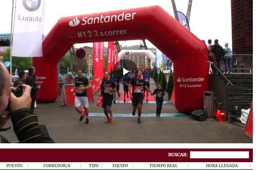 Buscador llegada a meta en la carrera de empresas Bilbao 2019