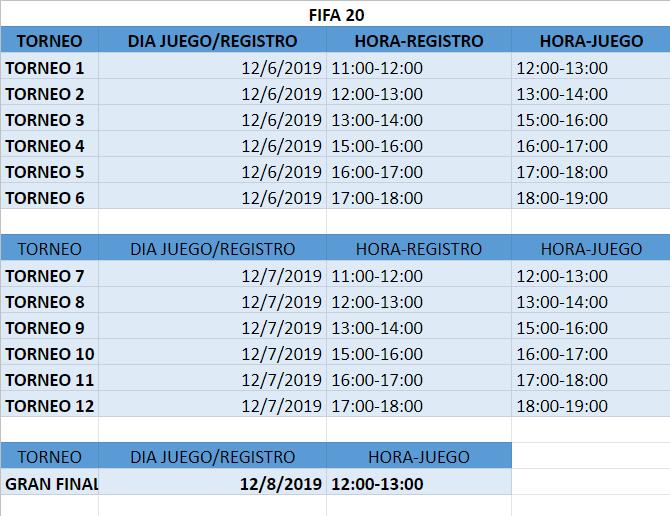 Horarios bbk eSports FIFA 20